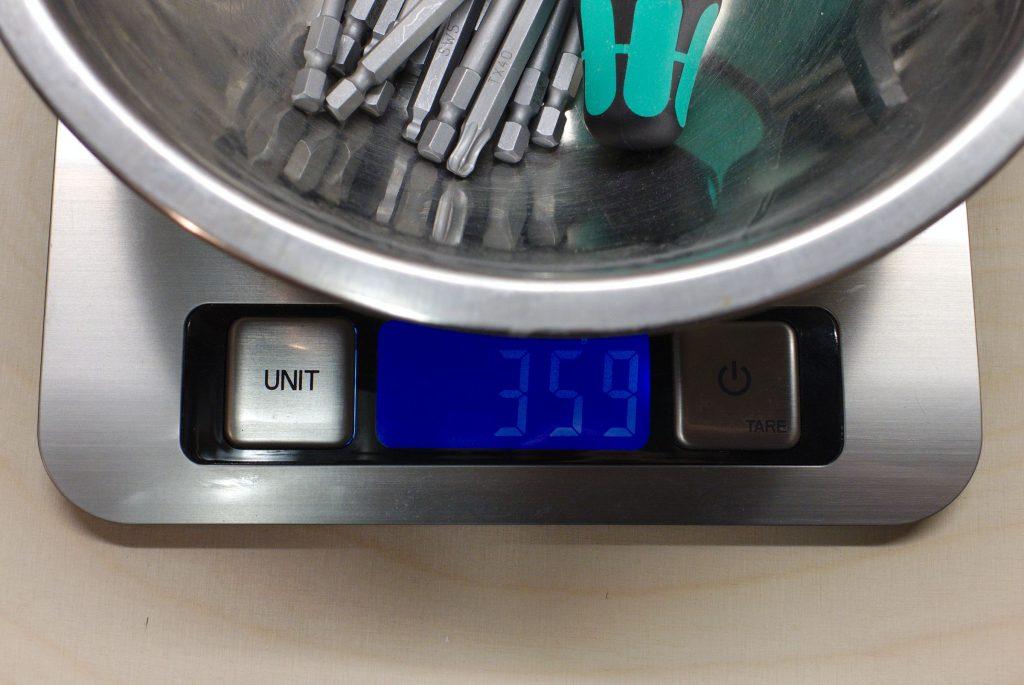 Steckschraubenschlüsselsatz wiegt 360g