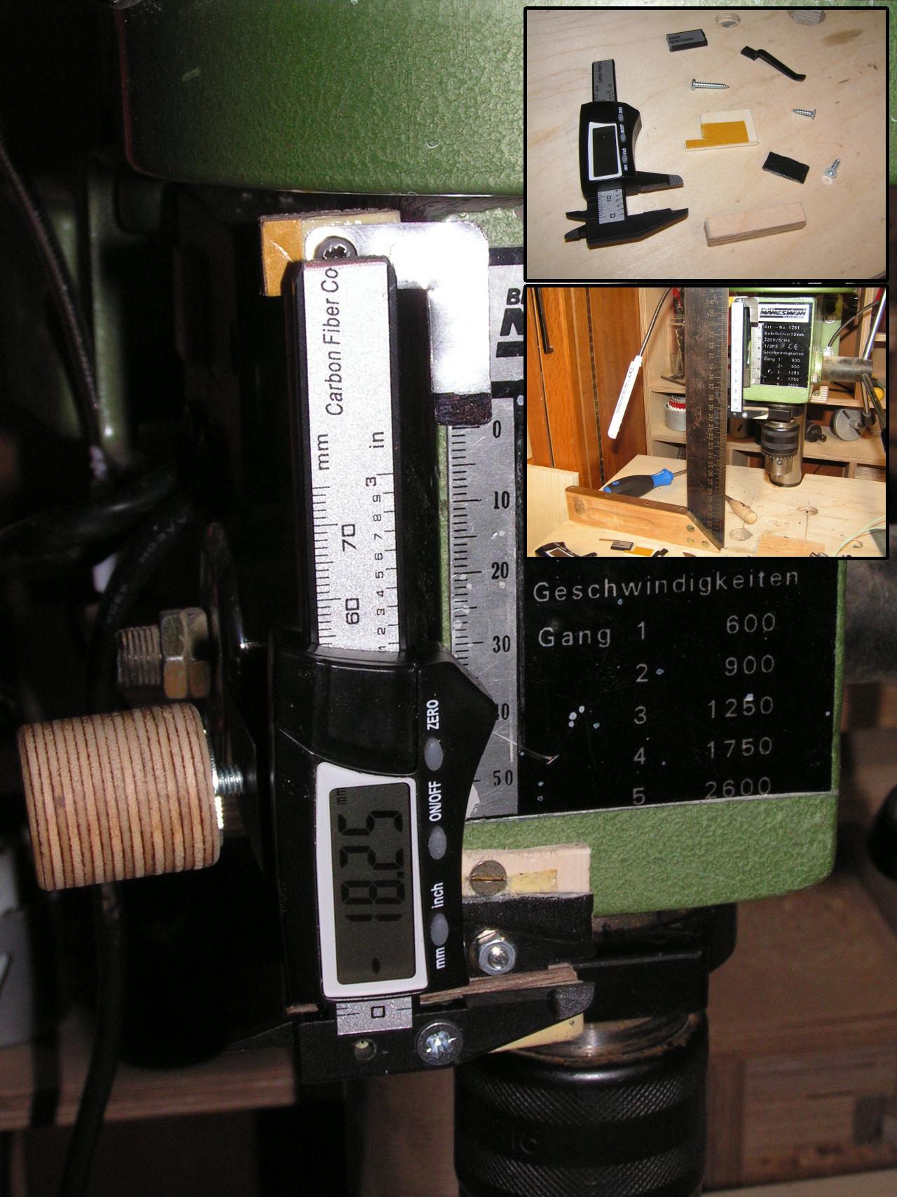 Digitale Tiefenmessung an Tischbohrmaschine